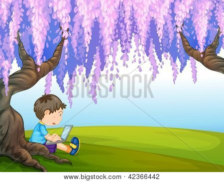 Illustration of a young boy under a big tree