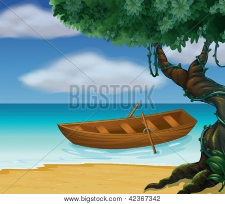 Illustration of a wooden boat in the sea