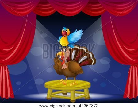 Illustration of a parrot and a turkey at the stage