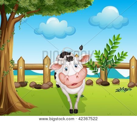 Illustration of a cow inside the fence