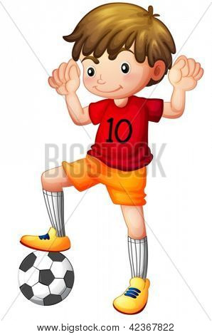 Illustration of a boy and a football on a white background