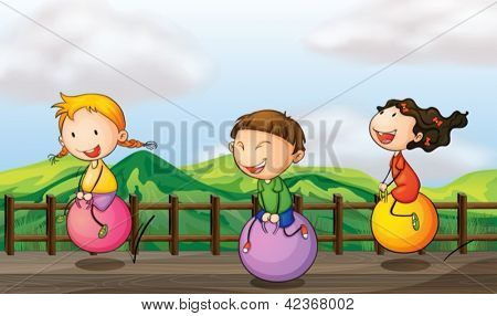 Illustration of kids playing at the bridge