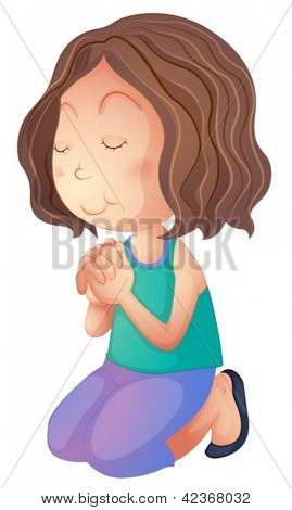 Illustration of a woman praying on a white background