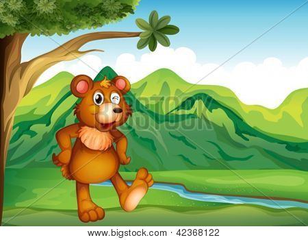 Illustration of an animal playing near the mountain