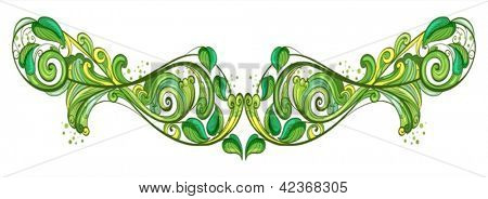 Illustration of a leafy design frame on a white background