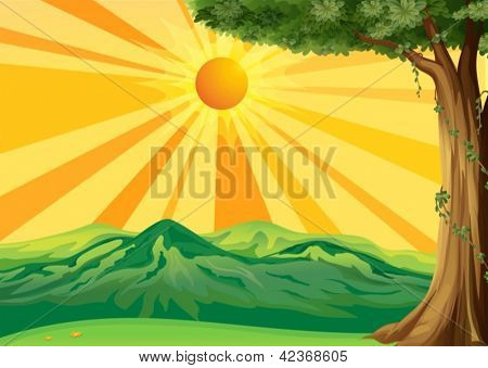 Illustration of a sunrise view