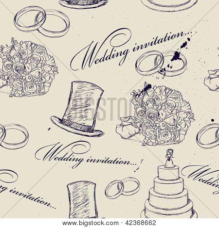 Vintage wedding seamless texture.