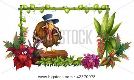 Illustration of a turkey above a trunk in the garden on a white background