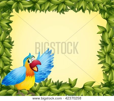 Illustration of a colorful parrot and the green leafy frame