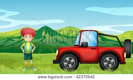 Illustration of a red jeepney and a boy in the hills