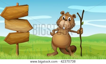 Illustration of a beaver holding a wood beside a wooden signboard
