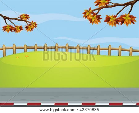 Illustration of the wooden fence at the roadside