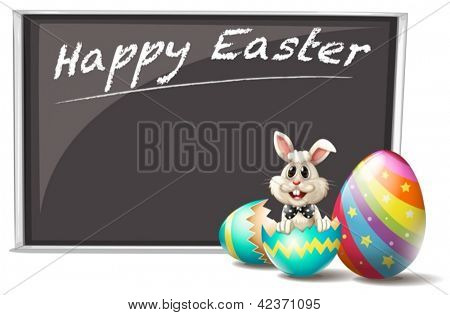 Illustration of a bunny and the cracked easter egg on a white background