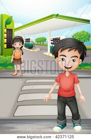 Illustratio of a boy and a girl near the gasoline station