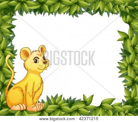 Illustration of a young tiger and the leafy frame