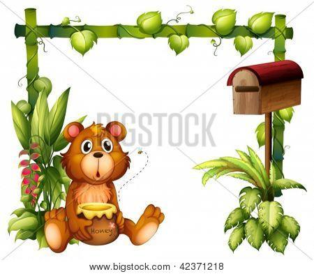 Abbildung eines Bären in der Nähe des Postfachs auf weißem Hintergrund