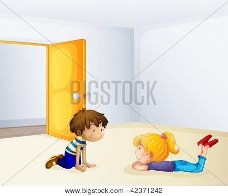 Abbildung der Kinder in einem Raum im Chat