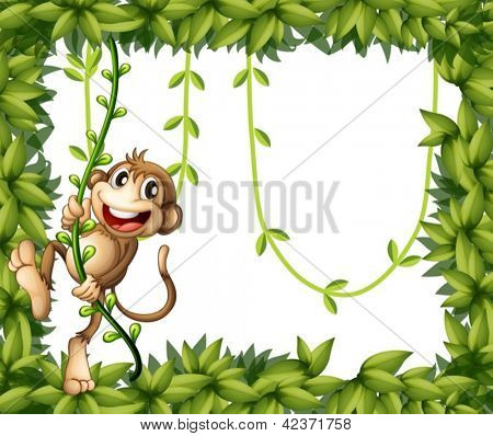 Illustration of a monkey in a leafy frame