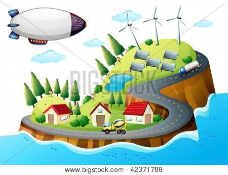 Illustration of a village with windmills and a spaceship