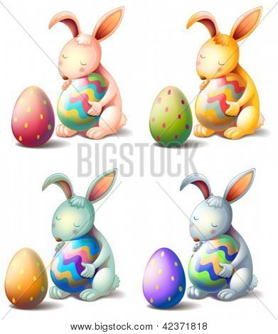 Illustration of four rabbits with easter eggs on a white background