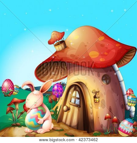 Illustration of easter eggs hidden near a mushroom-designed house