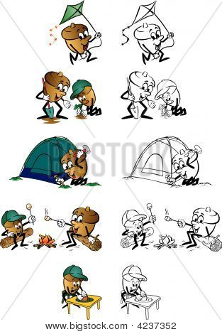 Cartoons Of Acron Characters Camping