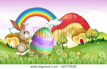 Illustration of a bunny pushing an easter egg