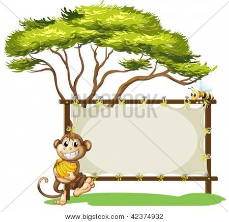 Illustration of a monkey with a banana near the empty signage on a white background