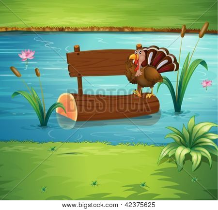 Illustration of a turkey and an empty board floating