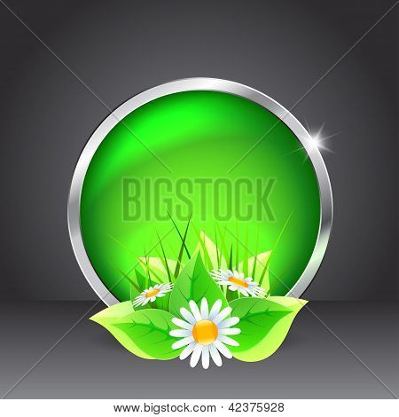 Green Glass Button With Flowers