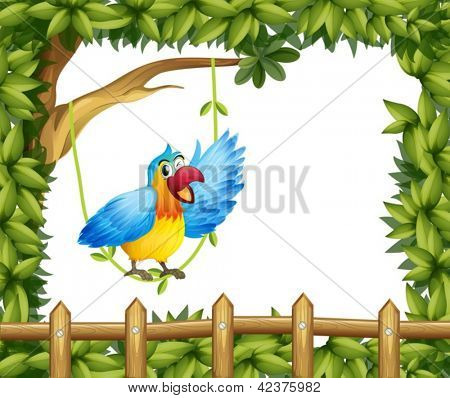 Illustration of a parrot and the leafy green border