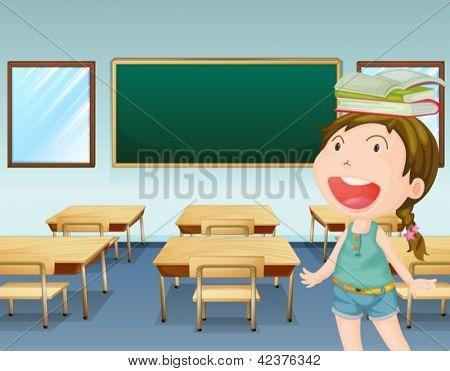 Abbildung eines jungen Mädchens in einem Klassenzimmer