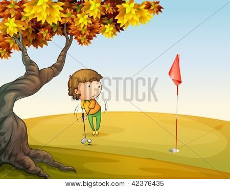 Illustration of a woman playing golf at the park