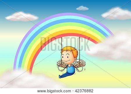 Abbildung eines Engels in der Nähe der Regenbogen