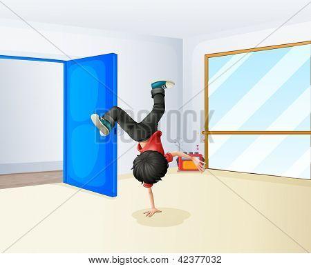 Illustration of a boy dancing inside the studio