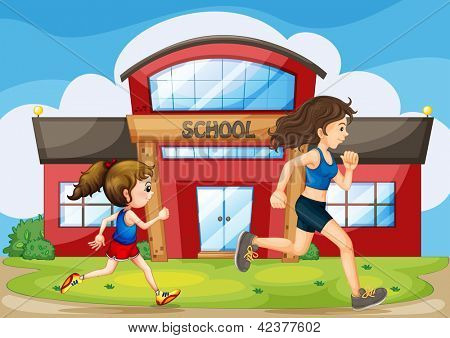 Illustration of a kid and a woman running in front of the school