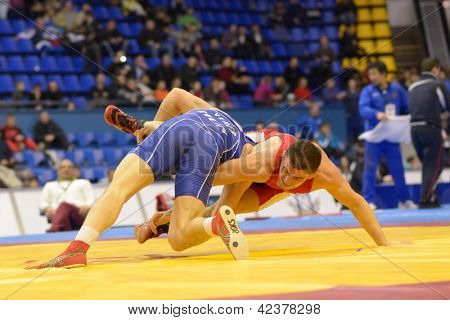 KIEV, UKRAINE - FEBRUARY 16: Match between Istvan Vereb, Hungary, blue and Oleg Bilotserkivskyi, Ukraine during XIX International freestyle wrestling tournament in Kiev, Ukraine on February 16, 2013