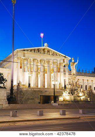 Austrian Parliament Building (hohes Haus) In Vienna