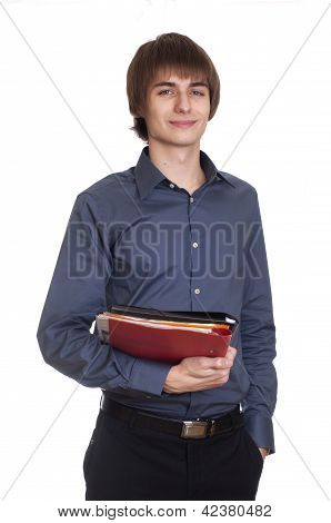 Happy young businessman hold folder with documents. isolated on