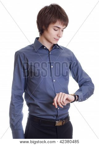 Happy young Businessman that watch on clock isolated on white ba