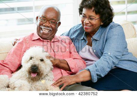 Feliz pareja Senior, sentado en el sofá con perro