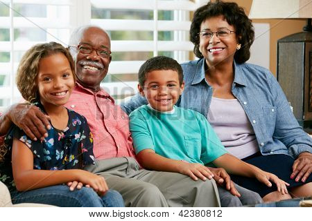 Portrait Of Grandparents With Grandchildren