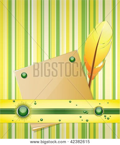 Yellow - green background with feather and paper.