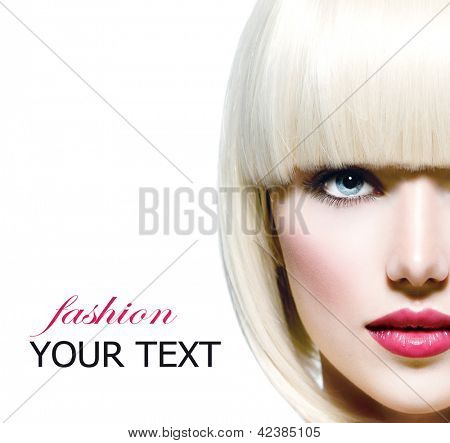 Fashion Stylish Beauty Portrait. Beautiful Girl's Face Close-up. Haircut. Hairstyle. Fringe. Professional Makeup. Make-up. Vogue Style Woman. Isolated on a White Background. White Short Hair
