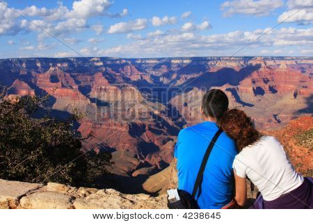 Young Couple And Grand Canyon, Arizona, Usa