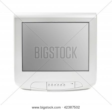 Old Television Or Tv Grey Screen Display Isolated White Background