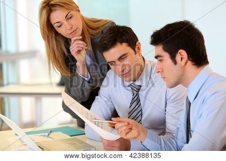 Group of people on business project presentation