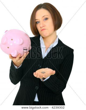 Closeup Money On Hand Of Poor Female Caucasian