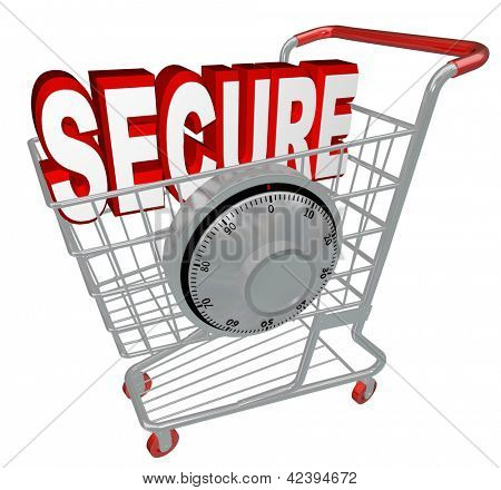 A shopping cart with the word Secure inside it and a combination lock symbolizing the protection provided by a website with security measures enacted