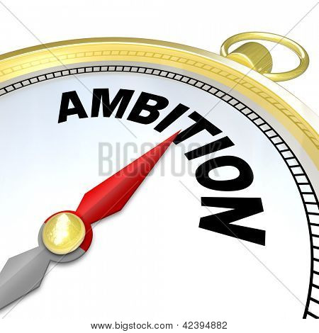 A compass with the word Ambition will lead you to success by helping you follow your initiative and  aspirations to meet your goal